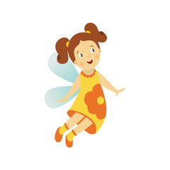 Vector fairy girl illustration on white background. Cute cartoon smiling child with butterfly wings in funny dress isolated. Magic flying kid in yellow flower clothing. Element for your design