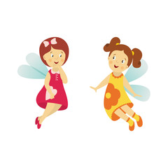 Vector fairy girl set illustration on white background. Cute cartoon smiling child with butterfly wings in cute dress isolated. Magic flying kid . Element for your design
