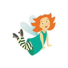 Vector fairy girl illustration on white background. Cute cartoon smiling child with butterfly wings in cute dress isolated. Magic flying kid in striped tights. Element for your design