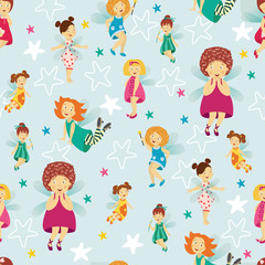 Seamless pattern, background design with cute fairy girls with wings and wands, cartoon vector illustration. Happy, smiling fairy girls flying in colorful dresses, seamless cartoon style pattern