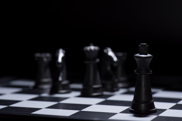 Black chess pieces lost to white chess pieces