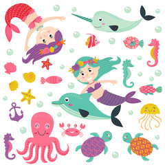 set of isolated mermaid with marine animals -  vector illustration, eps