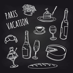 Paris vacation food and drinks collection on chalkboard background. Vector illustration