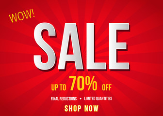 Sale  banner on red background.