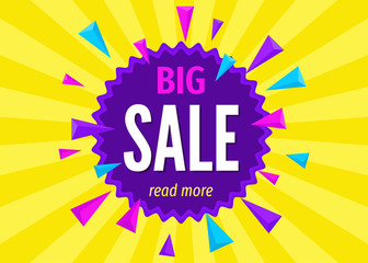 Big  sale banner on  bright colorful  background.