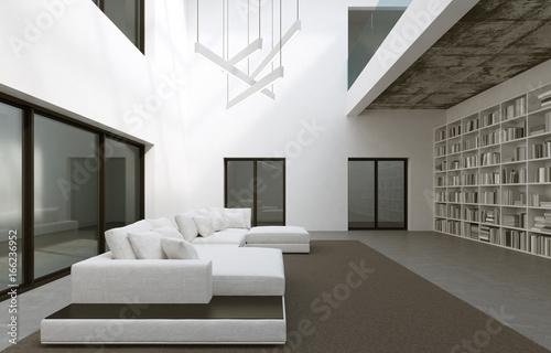 Top Blick in ein großes Wohnzimmer mit Bibliothek