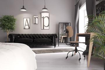 Blick vom Bett auf ein Sofa im Schlafzimmer