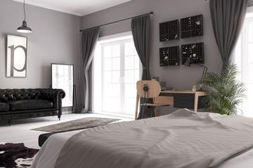 Blick vom Bett auf den Schreibtisch in einem Schlafzimmer