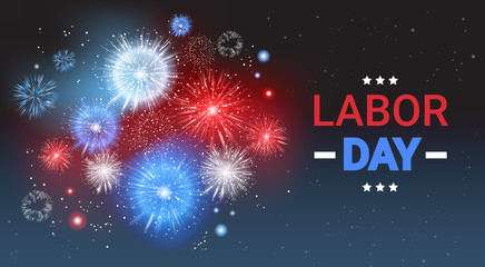 Labor Day Holiday Greeting Card With Firework Banner Flat Vector Illustration