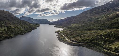 Aerial view of Loch Leven towards Glencoe, Lochaber