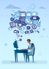 Man Using Computer With Chat Bubble Of Social Media Icons Network Communication Concept Vector Illustration
