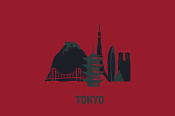 Minimalist illustration of Tokyo principal buildings. Flat vector design.