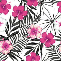 Pink hibiscus on the black leaves seamless background