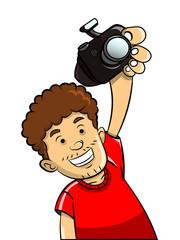 Man take up Digital Camera cartoon vector