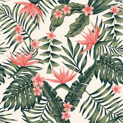 Plantes et fleurs tropicales couleurs abstraites sans soudure fond jaune clair
