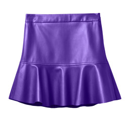 Violet leather skirt with flounce isolated on white