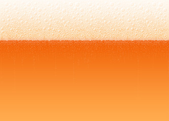 Foamy beer of variety Cold Red. Vector background for a beer festival Oktoberfest. High detailed realistic illustration. No Mesh