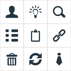 Vector Illustration Set Of Simple Interaction Icons. Elements Cravat, Togetherness, Tasks And Other Synonyms Chain, Clipborard And Search.