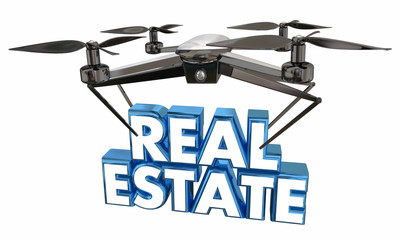 Real Estate Home House Footage Video Drone Flying Carrying Words 3d Illustration.jpg