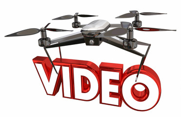 Video Photography Shoot Footage Drone Flying Carrying Word 3d Illustration