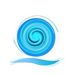 Beach wave vivid blue logo