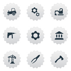 Vector Illustration Set Of Simple Industrial Icons. Elements Clipping Tool, Agriculture Transport, Digger And Other Synonyms Tool, Digger And Academy.