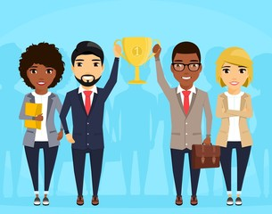 Businessmen lift up the Cup. A group of young professionals stand side by side. The reward for teamwork. In flat style on blue background. Cartoon.