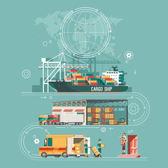 Delivery service concept. Container cargo ship loading, truck loader, warehouse, van. Flat style vector illustration.