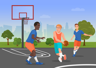 Vector illustration of black and white people playing streetball on the playground.