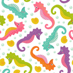 seamless pattern with cute sea horse  -  vector illustration, eps