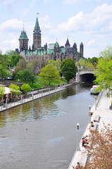 Canada Parliament Buildings and Rideau Canal, Ottawa, Ontario, Canada. Rideau Canal was registered as a UNESCO World Heritage Site.