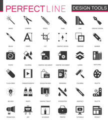 Black classic graphic design tools icons set.