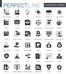 Black classic Economics market web icons set. Money, trading and finance icon.