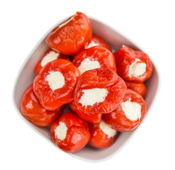 Fresh made Filled Pimientos (over white)