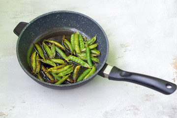 fried  peas on the pan. option vegetarian high protein.