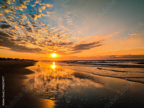 Sunrise Clouds And Reflection At Low Tide Over Folly Beach Charleston