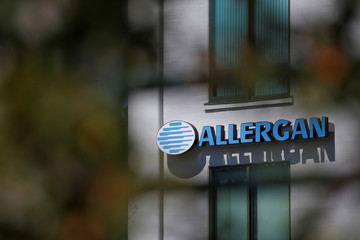 A sign marks Allergan's offices in Medford