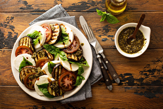 Summer caprese salad with grilled eggplant