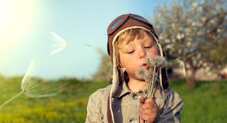 beauty boy with dandelion