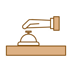 hand human with button bell isolated icon