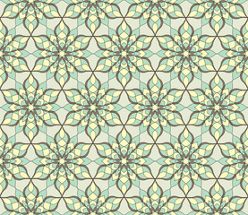 Seamless floral geometric pattern tile. Vintage decorative elements. Hand drawn background. Islam, Arabic, Indian, ottoman motifs. Perfect for printing on fabric or paper.