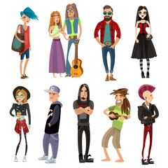 Subcultures People Set In Cartoon Style