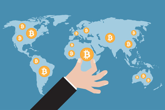 Hand with bitcoin on a world map. Vector illustration