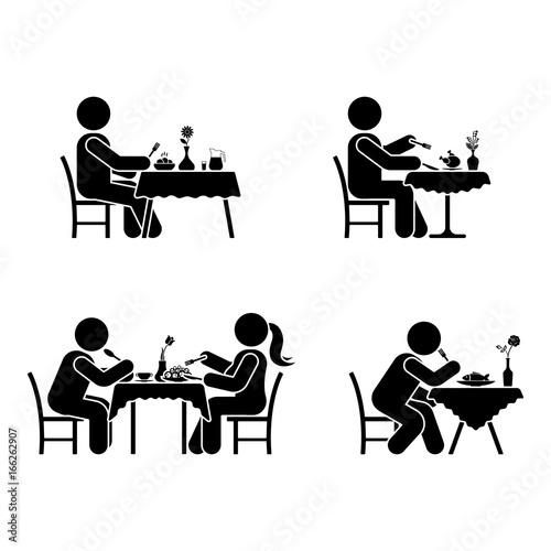 Quot Eating And Drinking Pictogram Stick Figure Vector Dining