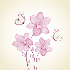 Floral background with flowers  lily and butterflies. Element for design.