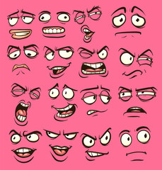 Cartoon faces with different expressions. Vector clip art illustration with simple gradients. Each on a separate layer.