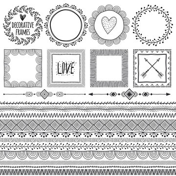 Set of seamless borders, frames for text or photo,vignettes. Can be used as divider, frame, brushes, etc. Freehand drawing. Black and white.