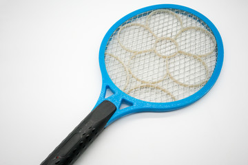 Blue plastic mosquito racket killer with electric net and flower pattern on flat surface for sparking