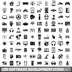 100 software development icons set, simple style