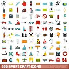 100 sport craft icons set, flat style